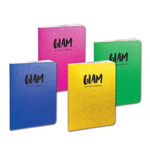 GLAM τετράδιο καρφίτσα με GLITTER Β5 (17X25) 52Φ