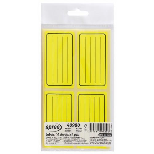4 αυτοκόλλητες ετικέτες τετραδίων κίτρινες 43x80mm/φύλλο σε σακουλάκι ΤΩΝ 10Φ